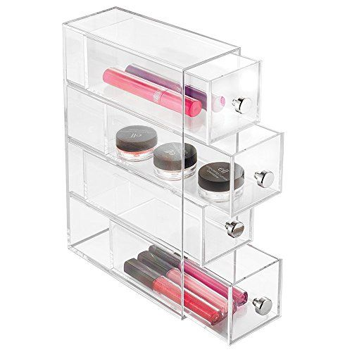 Mdesign Cosmetic Organizer For Vanity Cabinet To Hold Makeup Beauty Products 4 Drawers Clear Read M Vanity Storage Vanity Organization Organize Drawers