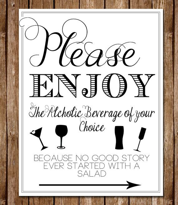 Printable Able 8 5 X 11 Wedding Open Bar Sign Please Enjoy Beverage Of Your