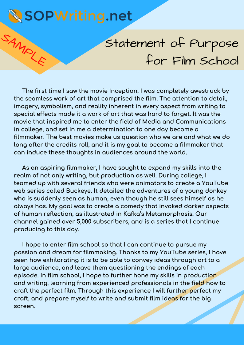 Sop Sample For Film School That Can Show You What To To To Make Your Sop Impeccable Check It Film School Personal Statement Examples College Application Essay