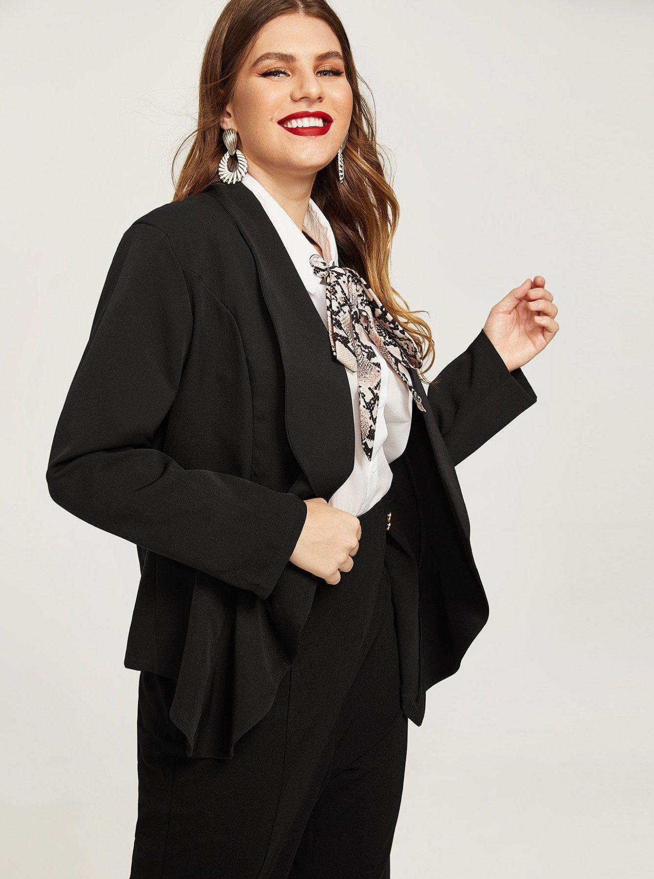 09adde0b366ca Plus Dip Hem Blazer   2019 Blazer   Plus size blazer, Bridesmaid ...