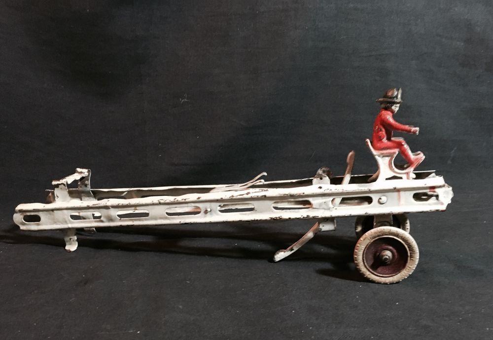 Vintage Antique Kingsbury Pressed Steel Fire Ladder with Driver - parts