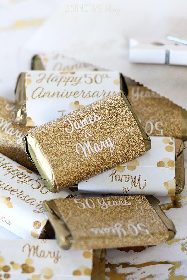 Personalized Gold Wedding Anniversary Mini Candy Bar Labels 45 Stickers In 2020 Gold Wedding Anniversary Candy Bar Party 50th Wedding Anniversary Party