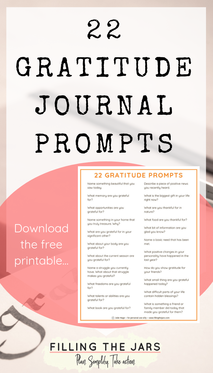 Using these 22 gratitude writing prompts will ramp up your life enjoyment level — even if nothing else changes around you. Click through for ideas on how to start practicing gratitude and get your free printable gratitude journal prompts… #journalprompts #printables #journaling
