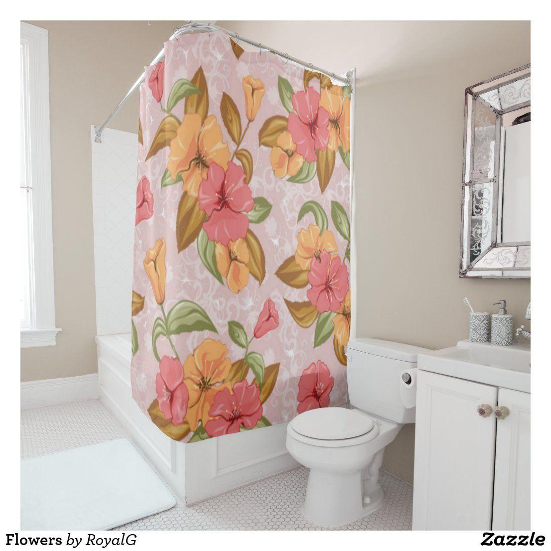 Flowers Shower Curtain #showercurtain #curtaindesign