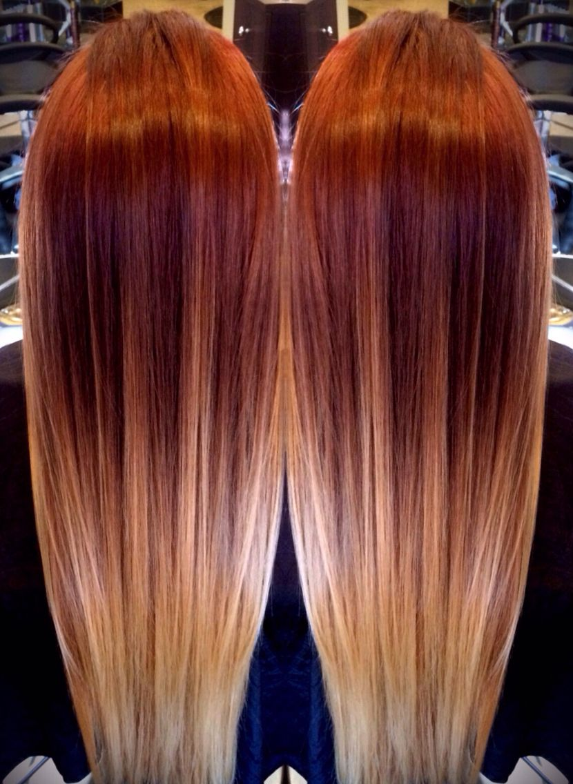 Red Melting To Blonde Ombre Wouldn T This Look Cool If The Ends