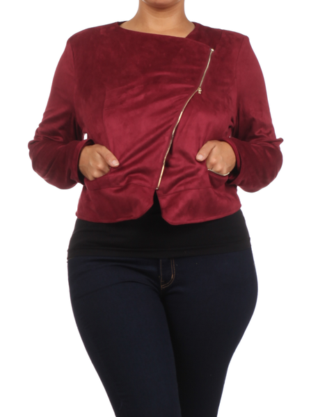 a6cbed6882 Plus Size Chic Side Zipper Burgundy Velour Jacket