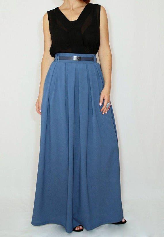 978294cc84be Blue grey skirt Women Chiffon maxi skirt High waisted maxi skirt with  pockets