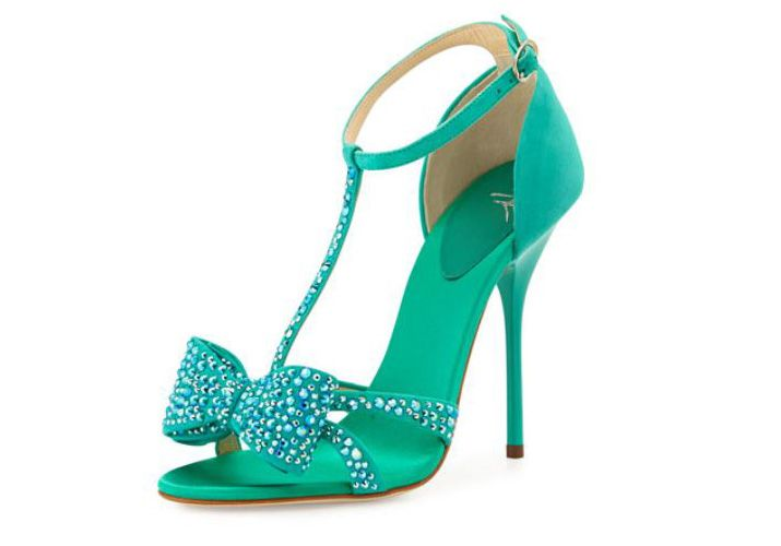 Giuseppe Zanotti green suede crystal bow sandals
