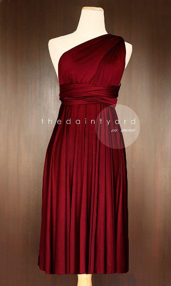 df7f7b4a52562 Short Straight Hem Wine red Bridesmaid Dress Convertible Dress   My ...