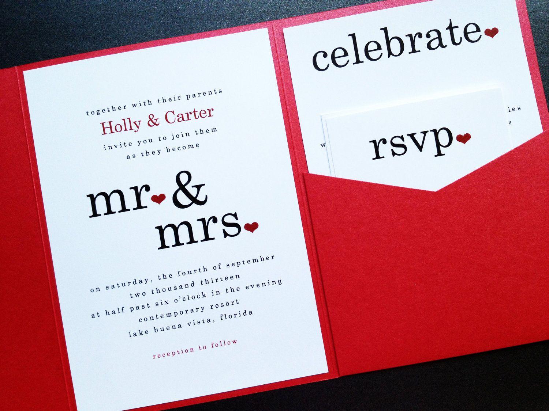 Wedding Invitation - Mr and Mrs Signature Pocketfold Wedding ...