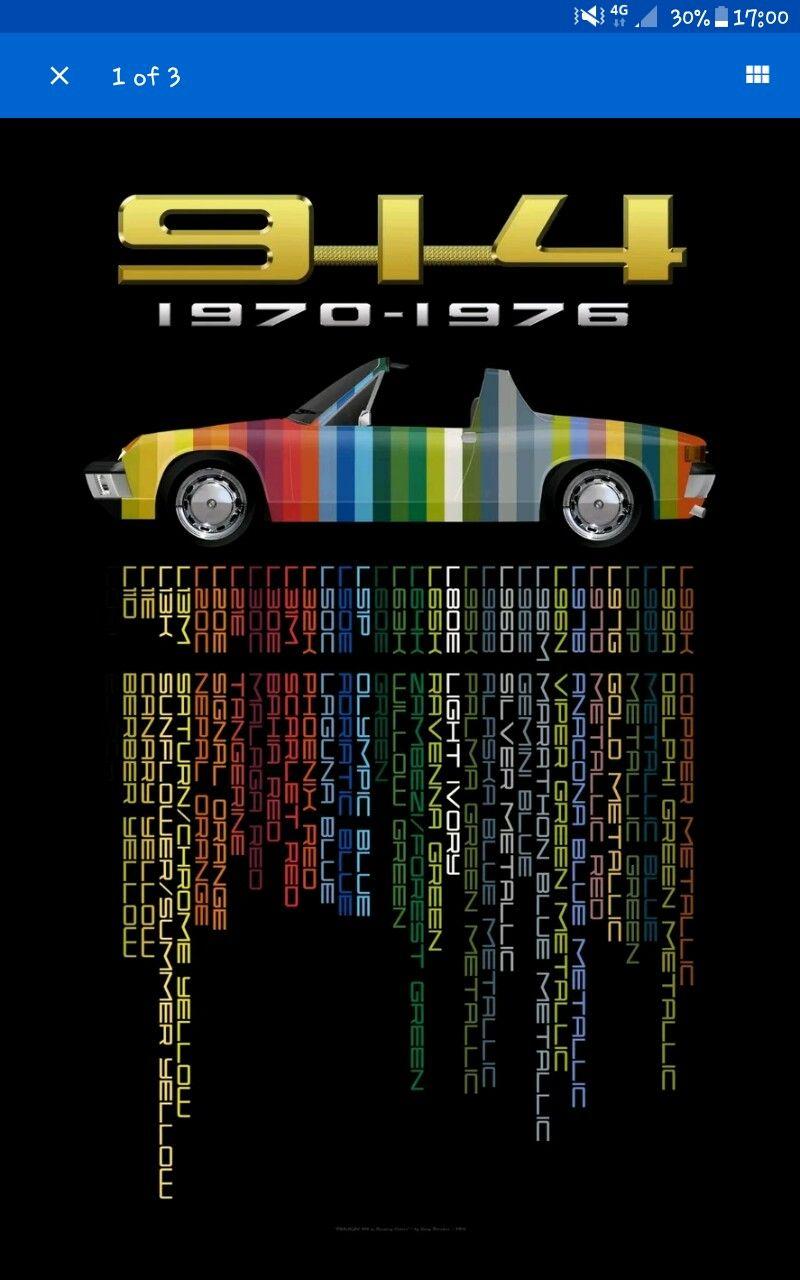 Porsche 914 original colour chart Porsche 914, Porsche