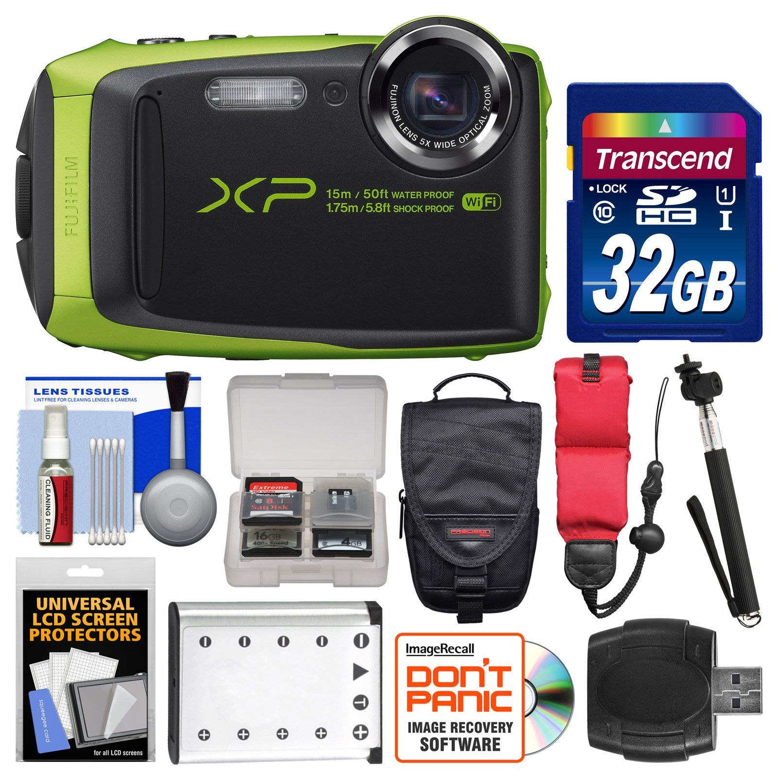 Fujifilm FinePix XP90 Shock & Waterproof Wi-Fi Digital Camera (Black/Lime Green) with 32GB Card + Case + Battery + Selfie Stick + Float Strap + Kit. KIT INCLUDES 11 PRODUCTS -- All BRAND NEW Items with all Manufacturer-supplied Accessories + Full USA Warranties:. [1] Fujifilm FinePix XP90 Shock & Waterproof Wi-Fi Digital Camera (Black/Lime Green) + [2] Transcend 32GB SDHC 300x Card +. [3] Spare Rechargeable Battery + [4] PD C190D Digital Camera Case + [5] Floating Foam Camera Strap +. [6]…