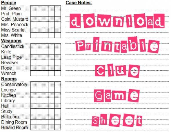 photo about Clue Sheets Printable known as 6 Illustrations or photos of Absolutely free Printable Recreation Sheets printablee Clue
