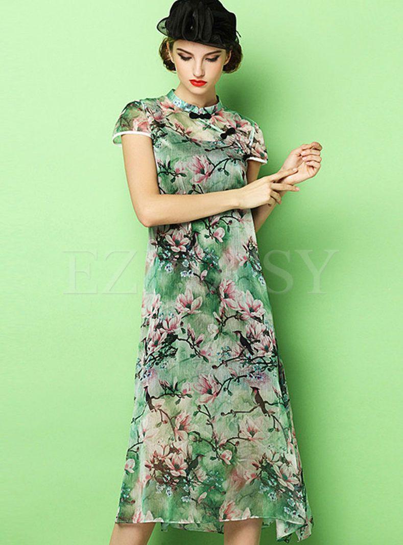 Chiffon Improved Cheongsam Maxi Dress   Cheongsam