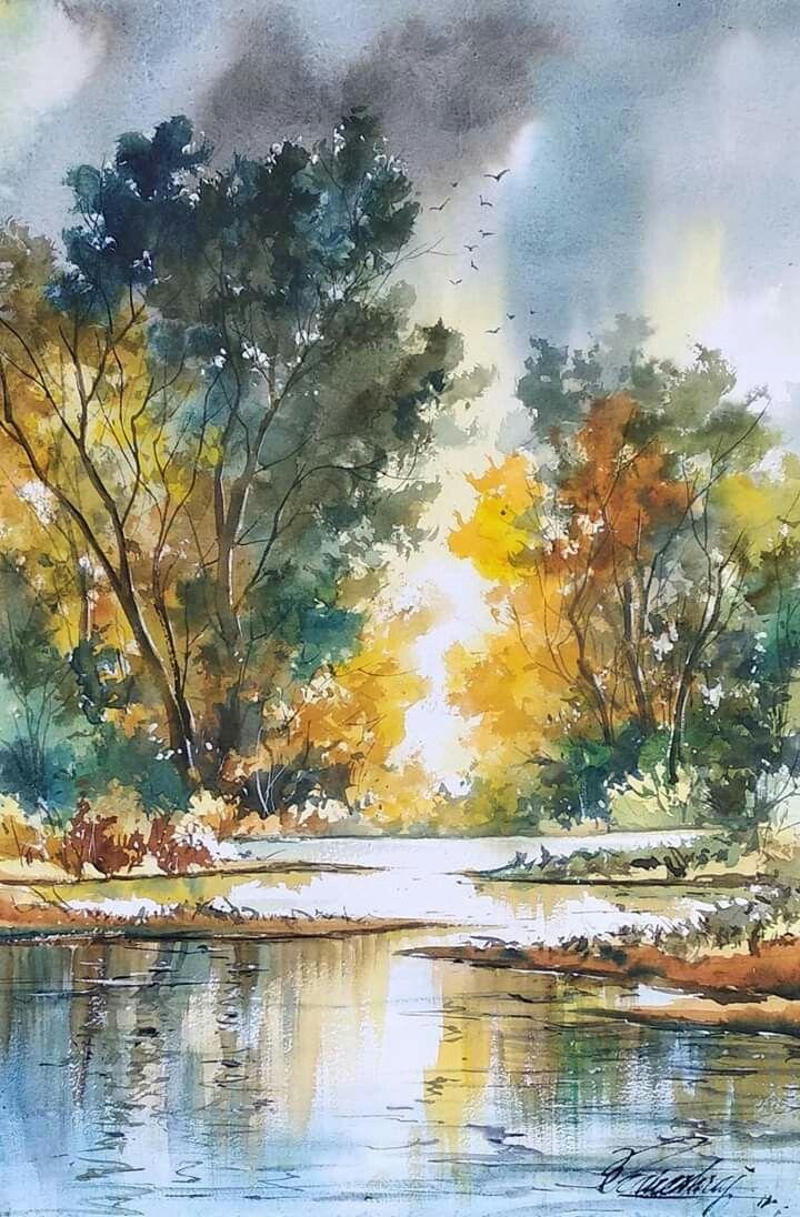 Pin Von Elisabeth Hofer Auf Landschaft Wasserfarben