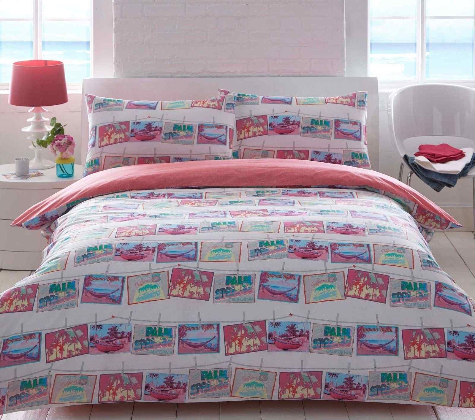 Beach Postcard Duvet Quilt Bedding Set Fitted Bed Sheets Cool