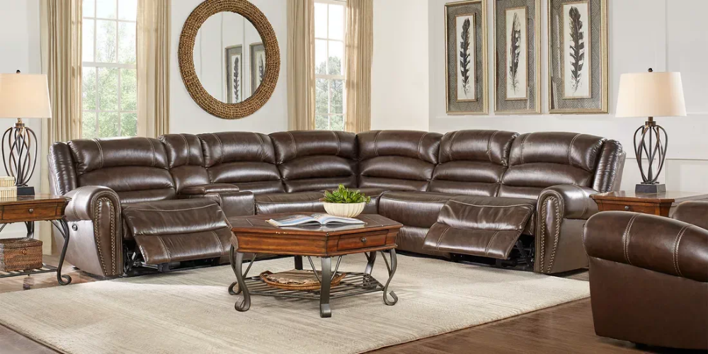 Best Donelle Brown Leather 6 Pc Reclining Sectional Living 400 x 300