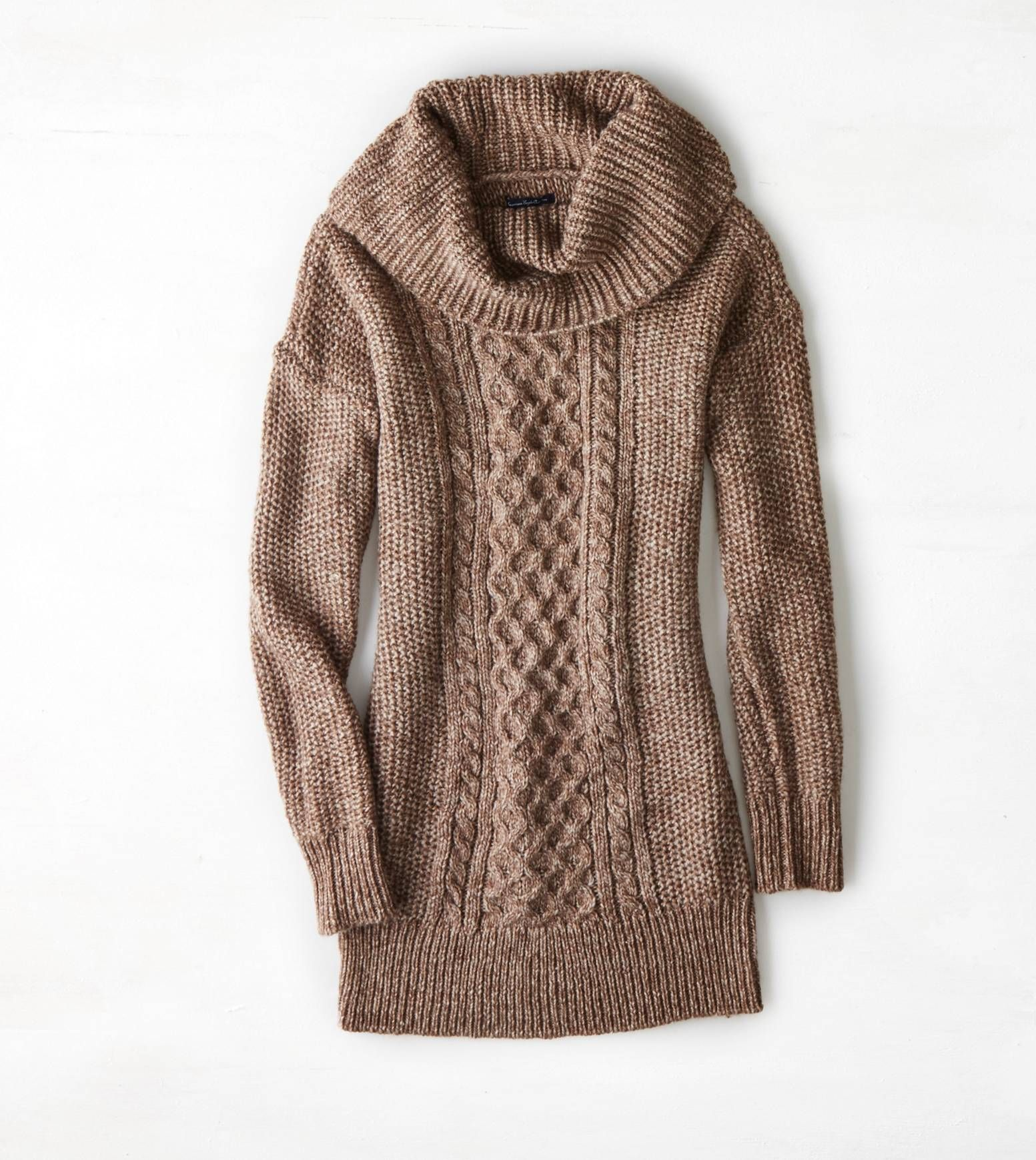 Heather Brown AEO Cowl Neck Jegging Sweater | light brown sweater ...
