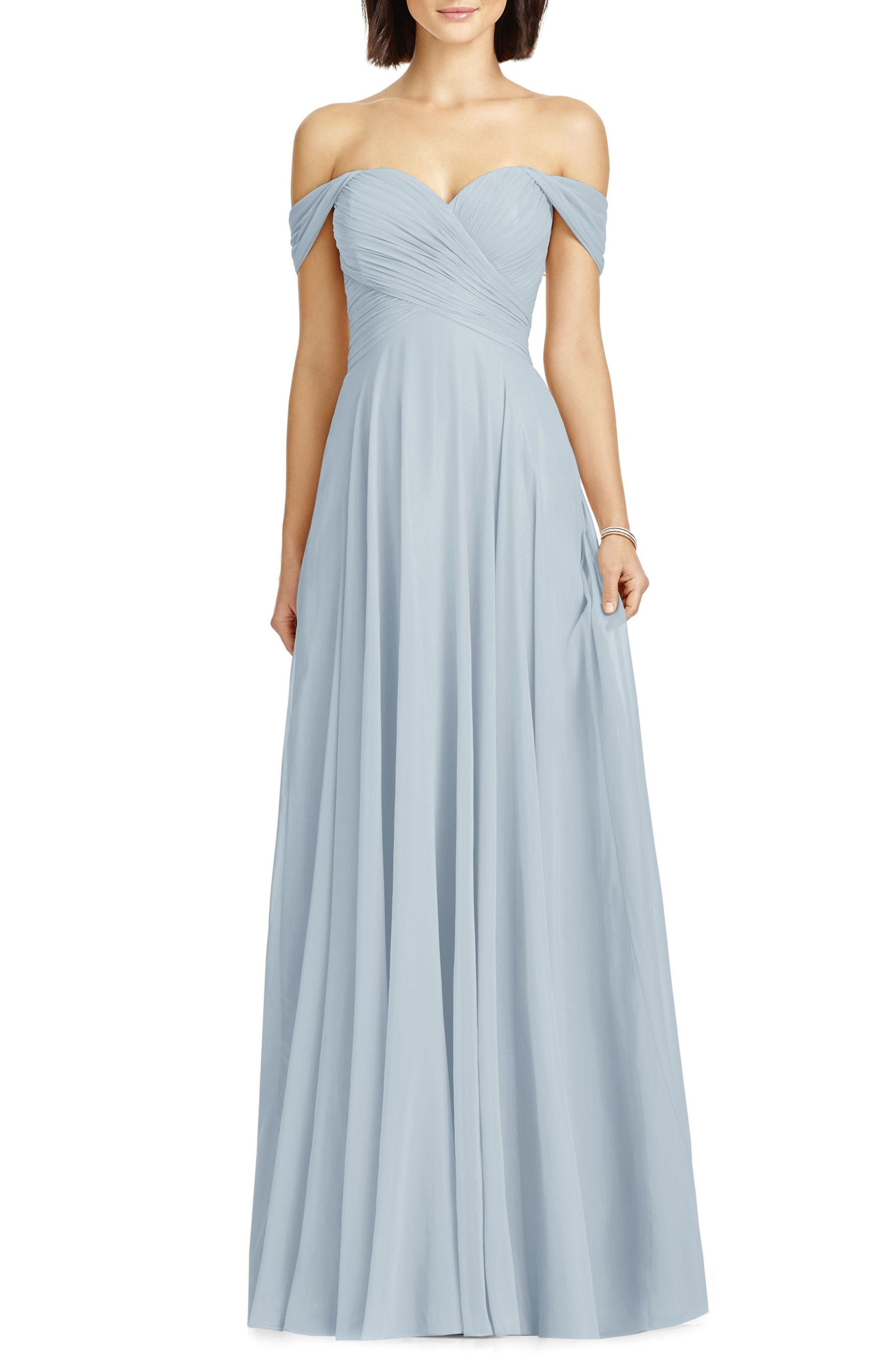 Lux Off the Shoulder Chiffon Gown- pale blue bridesmaid dress ...