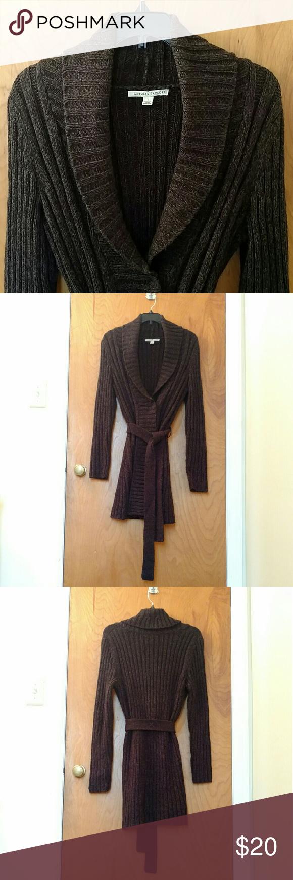 Long Chocolate Cardigan Sweater w/ Tie @ Waist Thick, cozy dark ...