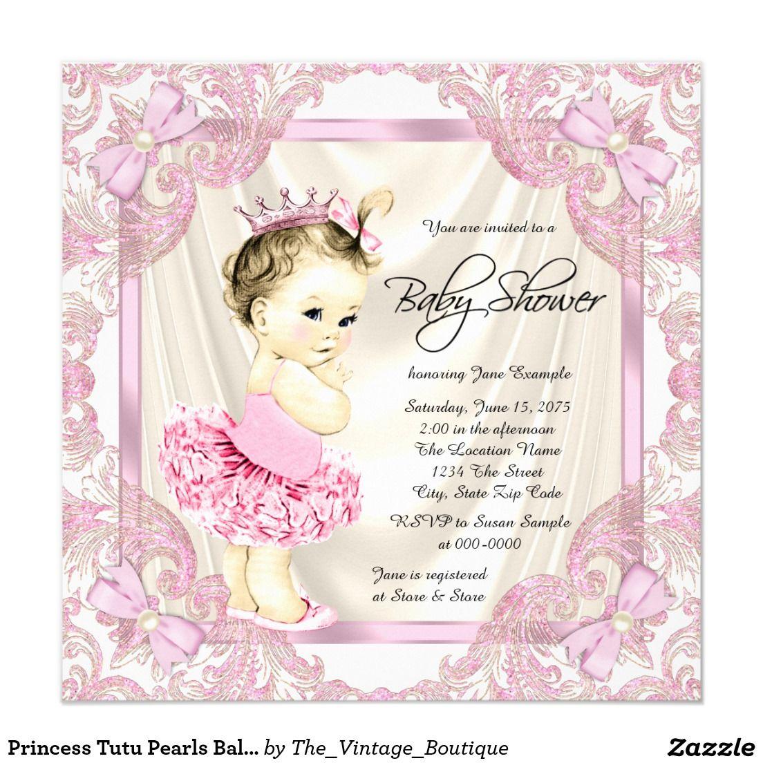 Princess Tutu Pearls Ballerina Baby Shower Card | Ballerina baby ...