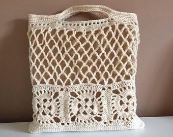 Crocheted tote market library bag | Etsy AU #crochetbowl
