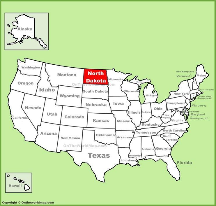 North Dakota location on the US Map Maps Pinterest North dakota