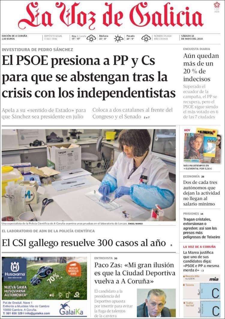 La Voz De Galicia 18 De Mayo De 2019 Portadas De Periodicos La Voz Portadas