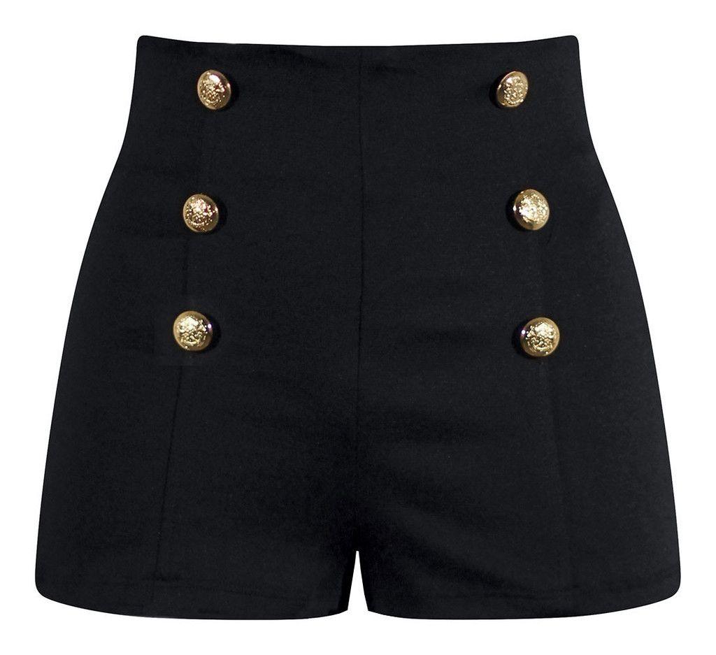 High Waisted Pin Up Shorts - Black | Shorts