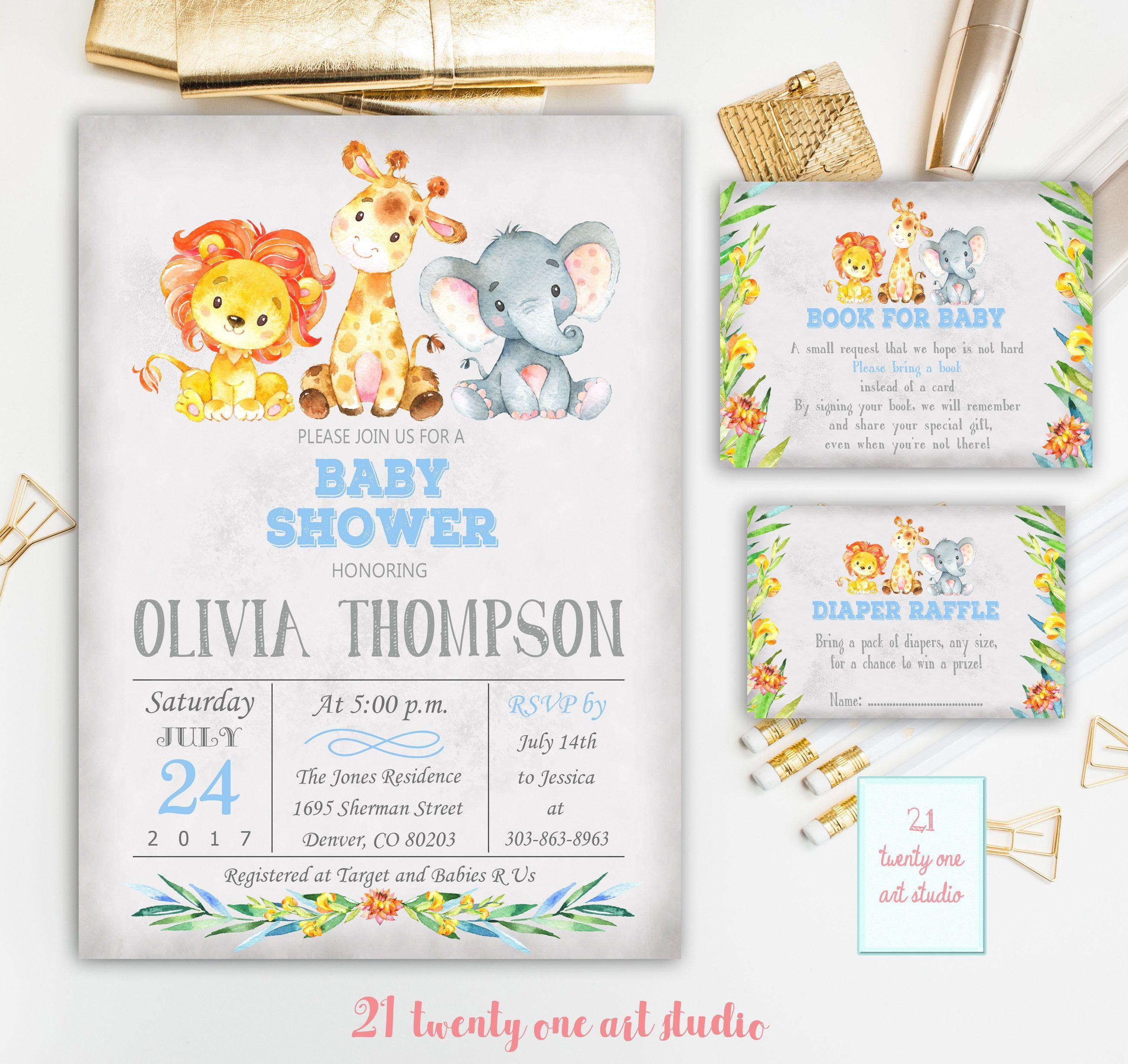 Jungle Safari Baby Shower Invitation, + Book for Baby + Diaper ...