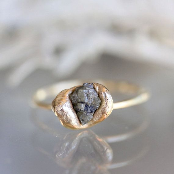 Raw Diamond In Recycled 14K Yellow Gold Nugget Ring (I) - Ready To Ship via Etsy
