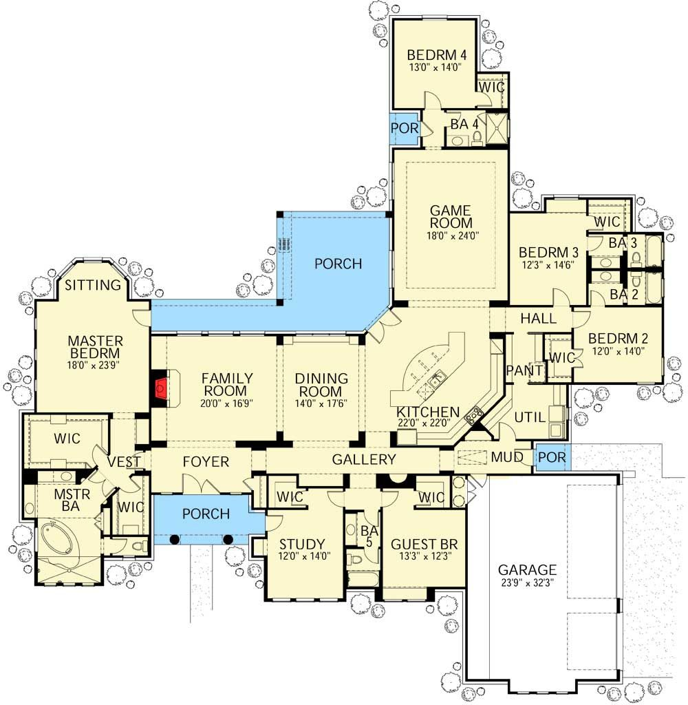 One Story Mediterranean House Plans: Plan 28337HJ: Five Bedroom Mediterranean Stunner In 2019