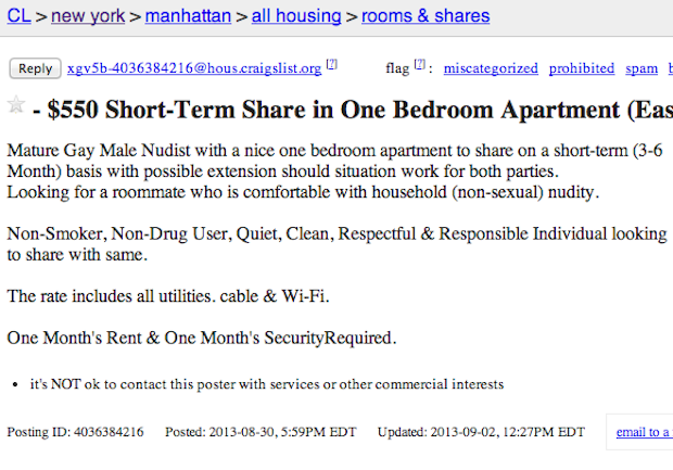 Nice Roommate Wanted Unbelievable Roommate Ads From Craigslist Roommate Wanted One Bedroom Apartment Roommate