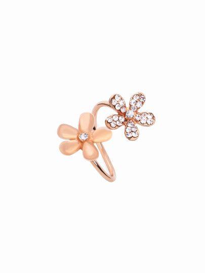 Pink Daisy Flower Rhinestone Encrusted Wrap Ring