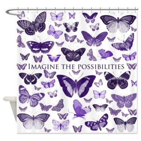 Purple Butterflies Imagine Shower Curtain By Zenandchic