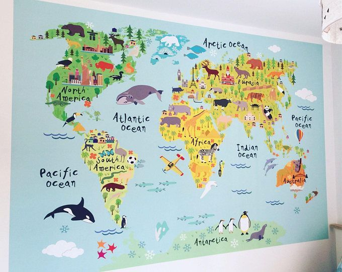 World Map Decal, Countries of the World Map, Kids Country World Map Poster, Peel and Stick Poster Sticker, World Map W1126 #worldmapmural World Map Decal Countries of the World Map Kids Country | Etsy #worldmapmural