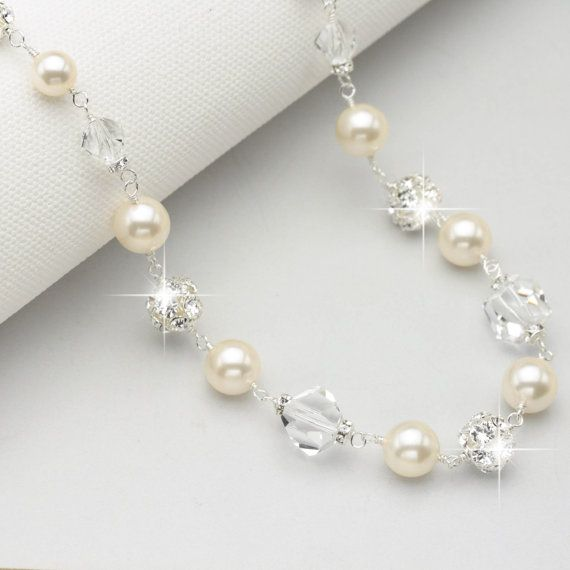 Chunky Pearl Necklace, Pearl and Crystal Bridal Necklace, Pearl and Rhinestone Bridal Jewelry, Wedding Jewelry for Brides, Swarovski Jewelry