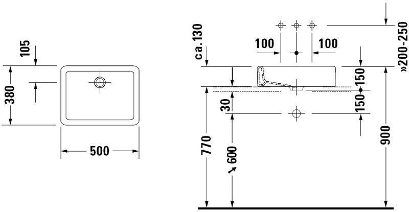 Doc-technique-Vasque--poser-Vero-sans-plage-500mmjpg 800 × 415 - Meuble Vasque A Poser Salle De Bain