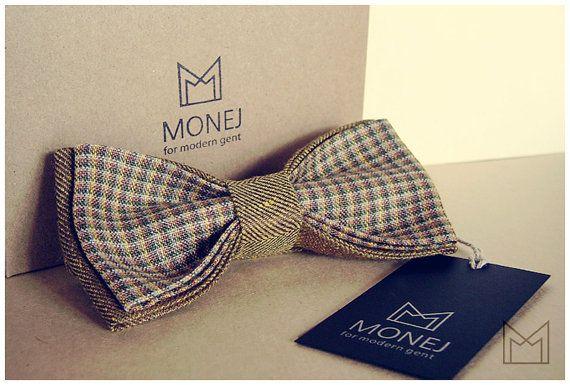 Men's Bow Tie - FREE SHIPPING - Handmade Linen Bowtie - Luxury Handmade Mens Gift - Pre-Tied - Rustic - Italian linen