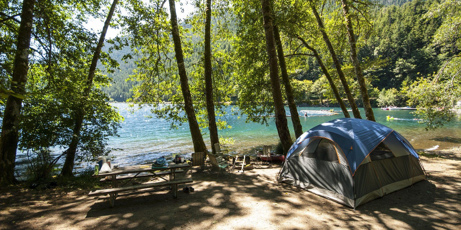 Camping at Fairholme Campground on the western shores of Lake Crescent.-  Olympic National Park