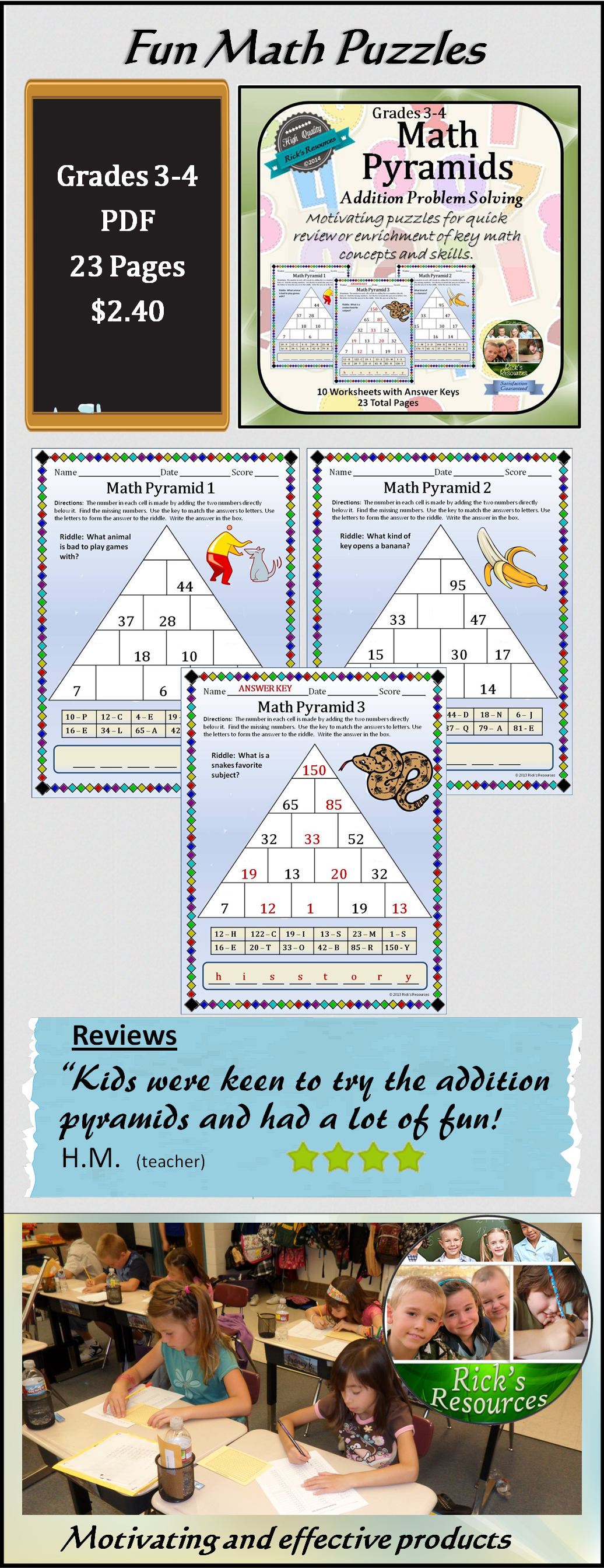 Math Puzzles Addition Subtraction Pyramids
