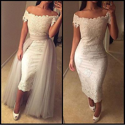 Off The Shoulder Sheath Short Wedding Dress Detachable Tail Lace Gowns In Clothing Shoes