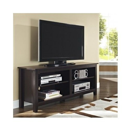 """WE Furniture 58"""" Espresso Wood TV Stand Home Entertainment ..."""