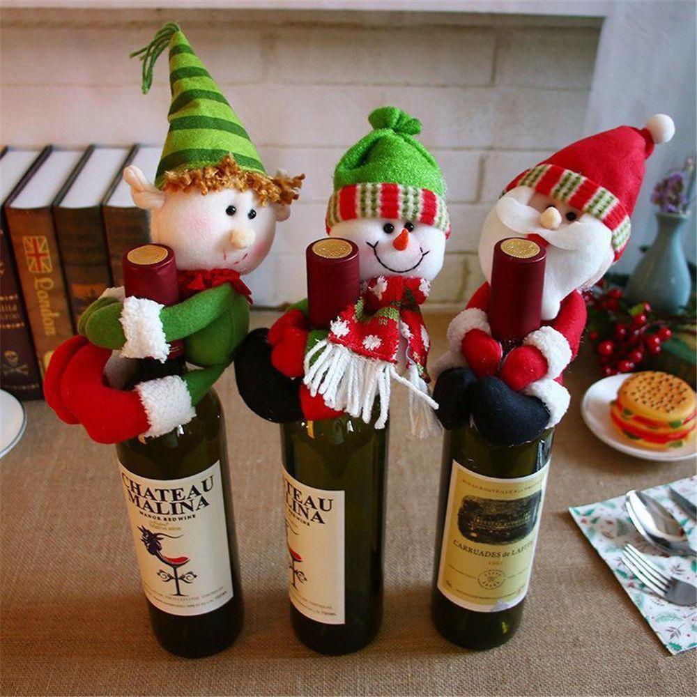 Uk 3pcs Christmas Santa Snowman Wine Bottle Cover Decors Santa Gifts Xmas Candy Christmas Wine Bottles Christmas Wine Bottle Covers Xmas Ornaments