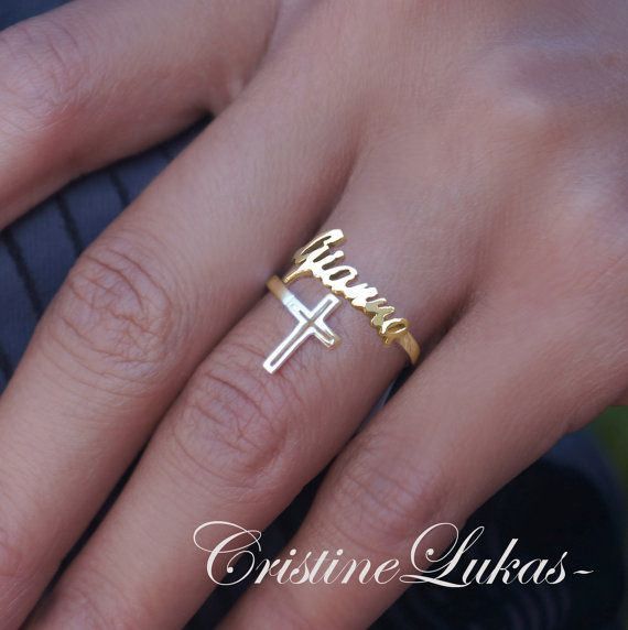 10k 14k Or 18k Solig Gold Or Sterling Silver Personalized Name Ring With Cross Double Wrap Rin Cross Ring Womens Engagement Rings Aquamarine Engagement Ring