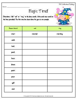 Worksheet Magic Time Add Ed Or Ing To The Base Words Write Each New Word On The Lines Provided Word Skills Student Forms Inflectional Endings Adding ed and ing worksheets grade