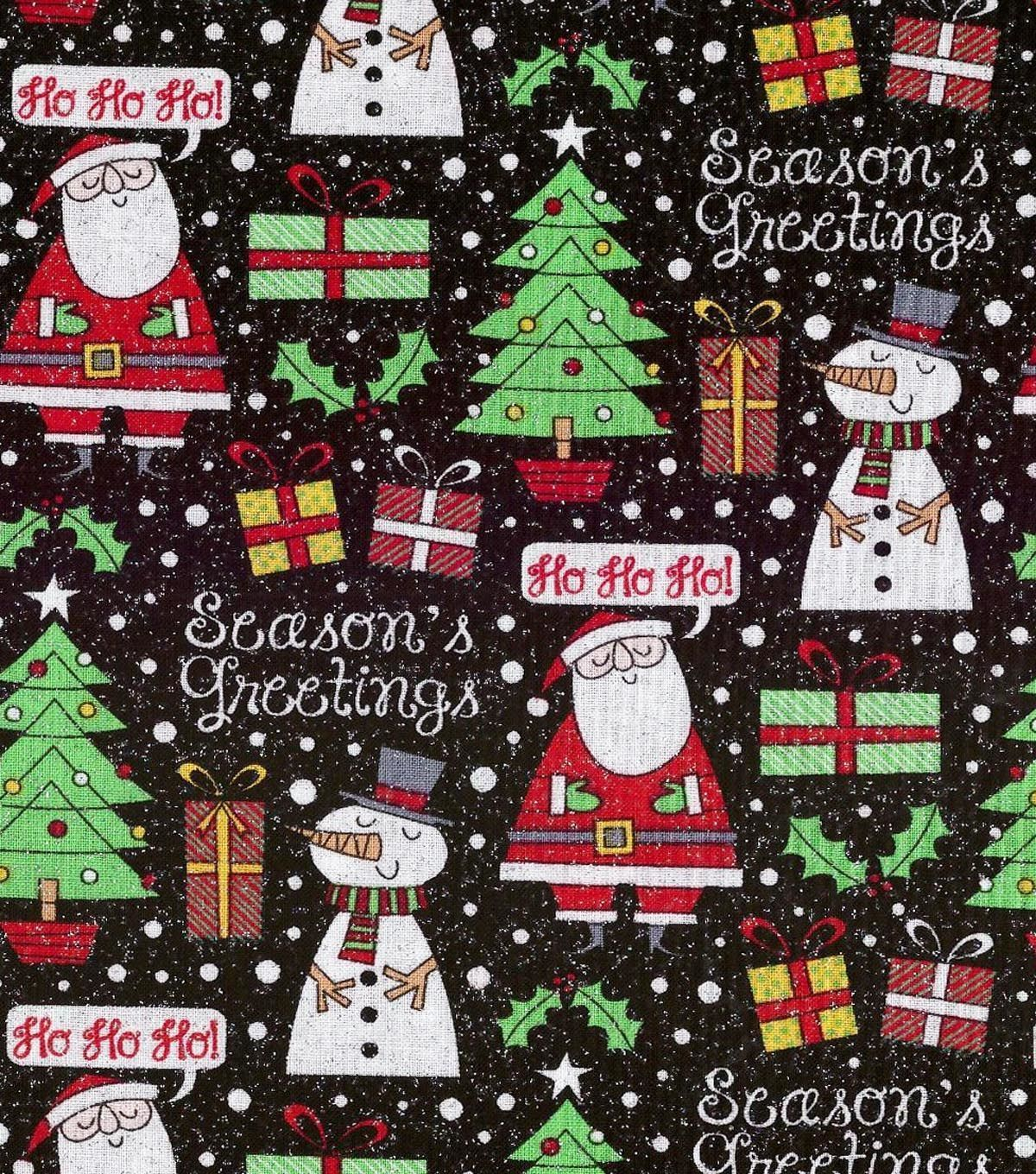 Holiday Inspirations Christmas Fabric Seasons Greetings Black Glitter