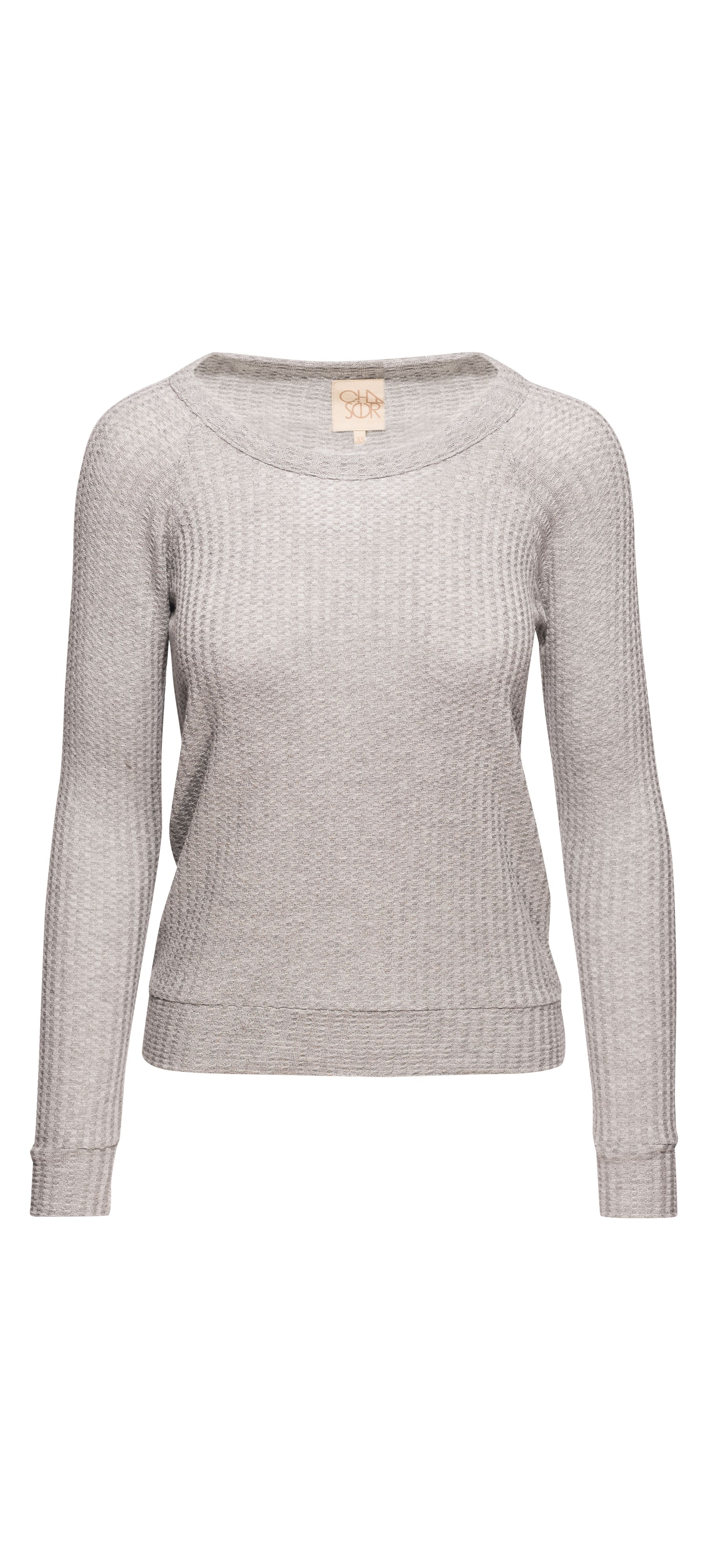 Chaser Long Sleeve Drape Back Raglan Thermal Pullover in Heather Grey / Manage Products / Catalog / Magento Admin
