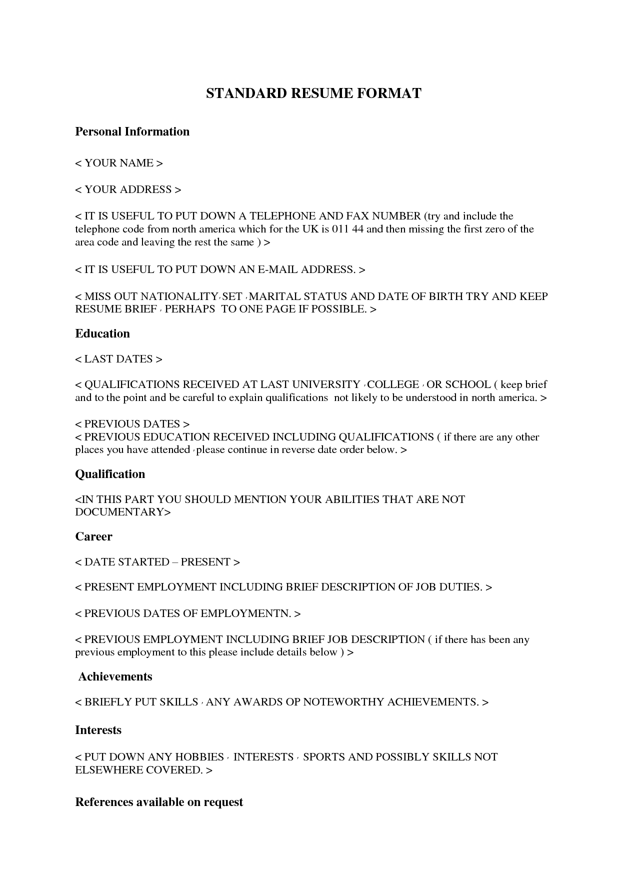 Standard Resume Format Resume Samples Usa Resumes Examples Example Software Engineer