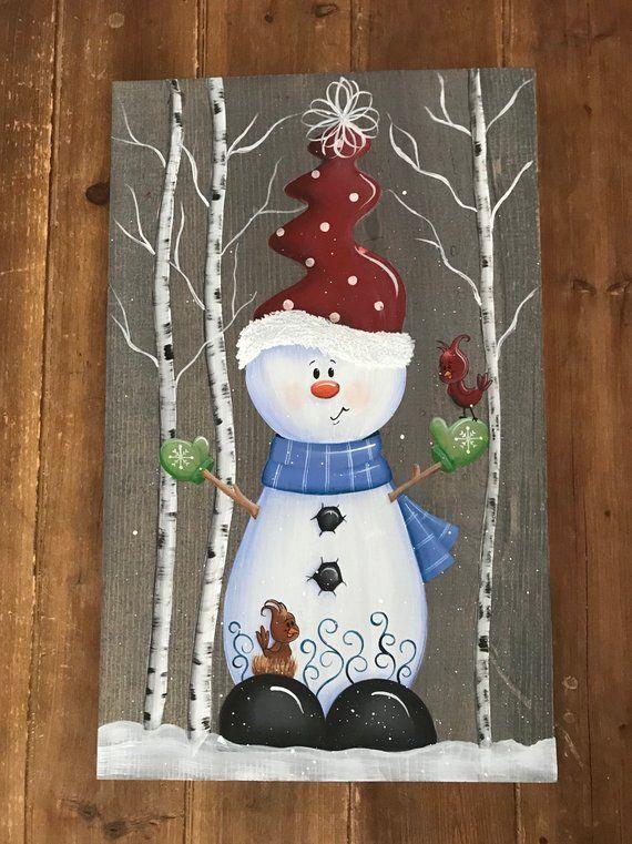 Signe de bois de Noel, décorations de bonhomme de neige, décor de vacances, décor de manteau de cheminée, signe d'hiver, décorations de vacances, cadeau unique de Noel #bonhommedeneige